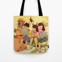 fairy tale Tote Bags featuring Fairy Tale by Radical Ink by JP Valderrama
