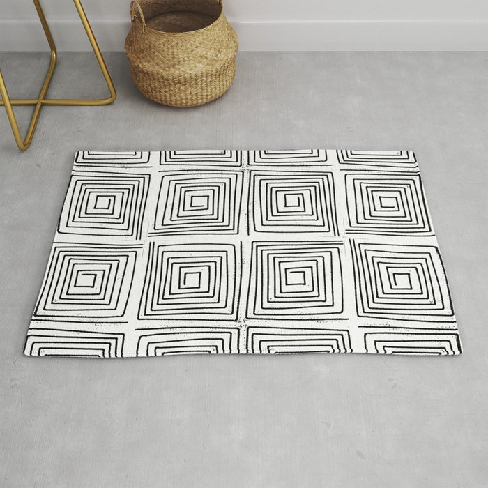 Minimal linocut printmaking geometric square maze pattern scandinavian  minimalist Rug by monoo