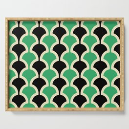 Classic Fan or Scallop Pattern 447 Black and Green Serving Tray