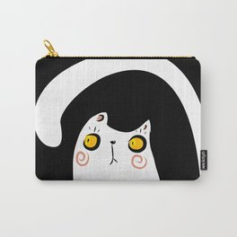 Dark Night White Cat Carry-All Pouch