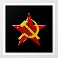 soviet Art Prints featuring Soviet symbol by Emma Harckham