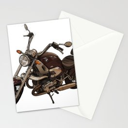Classic motorcycle original handmade drawing. Gift for bikers Stationery Cards