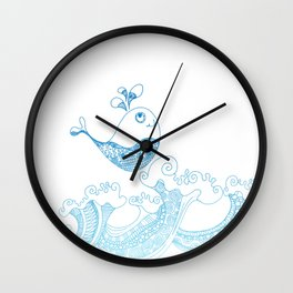 Doodle fish jumping out of the water - Maritime Sea Animal Wall Clock