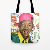 fresh prince Tote Bags featuring Fresh Prince of Bel Air - Will Smith by Heather Buchanan