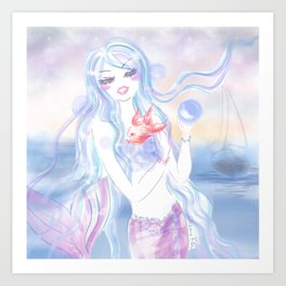 Mermaid at dusk Art Print