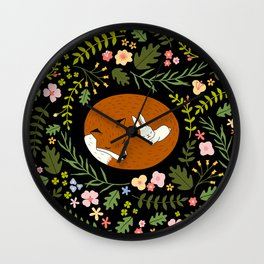 Friendship in Wildlife_Fox and Bunny_Bg Black Wall Clock
