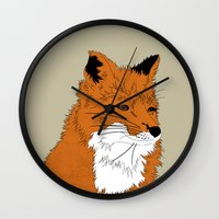 mr fox Wall Clocks featuring Mr Fox by Simone Clark