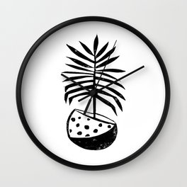 Palm tropical linocut houseplant lino print black and white minimal modern art print Wall Clock