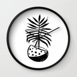 Palm tropical linocut houseplant lino print black and white minimal modern art print Wall Clock