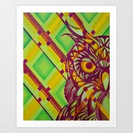 Green Owl Art Print