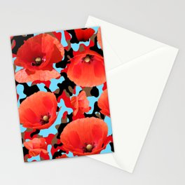 Poppie Camouflage Red Blue -Living Hell Stationery Cards