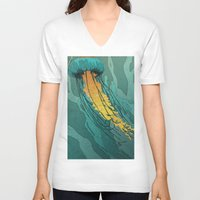 jellyfish V-neck T-shirts featuring Jellyfish  by Stranger Designs