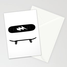 Skate Board From Side And Overhead Greyscale  Quo Stationery Cards