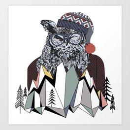 Vintage Retro Christmas Winter Snowy Winking Owl Art Print