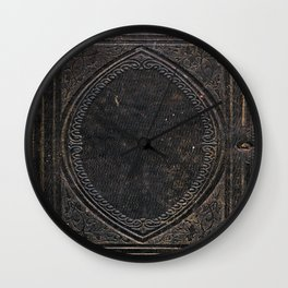 Old Black Leather Book Cover Wall Clock