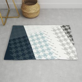 Modern Houndstooth Reinterpreted A – Navy / Gray / White Checked Pattern Rug