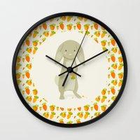 rabbit Wall Clocks featuring Rabbit by Jane Mathieu