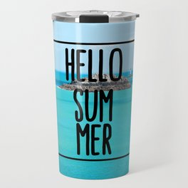 Hello Summer Typography with Turquoise Ocean Travel Mug