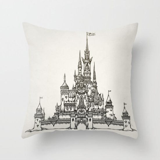 Castle of Dreams s/w Throw Pillow