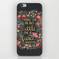 cup iPhone & iPod Skins featuring Little & Fierce on Charcoal by Cat Coquillette