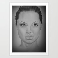 angelina jolie Art Prints featuring Angelina Jolie by Zombie Devine