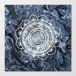 White Acacia on Liquid Silver Canvas Print