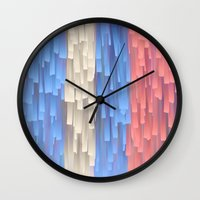 fringe Wall Clocks featuring Fringe (Blue) by Jacqueline Maldonado