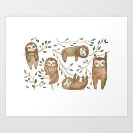 Sloth Buds Art Print