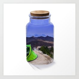 Bottle camping world Art Print