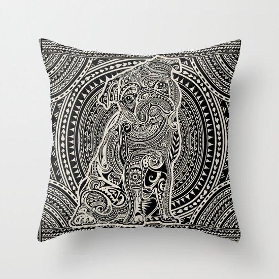 Polynesian Pug Throw Pillow