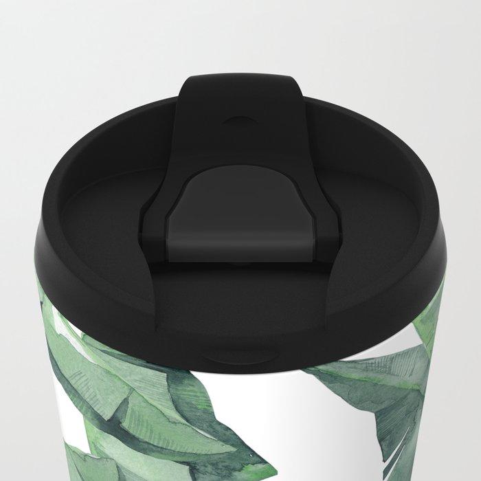 Banana Leaves Green Metal Travel Mug