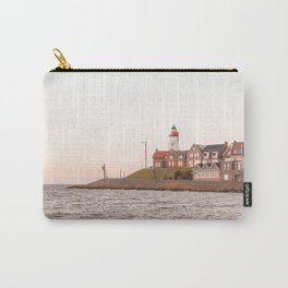 Lighthouse At Sunset Sea View Photo | Coast Of Dutch Village Urk Art Print | Europe Travel Photography Carry-All Pouch