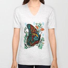 Turquoise Butterfly Unisex V-Neck