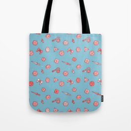 Dice and Daggers: Pink and blue Tote Bag