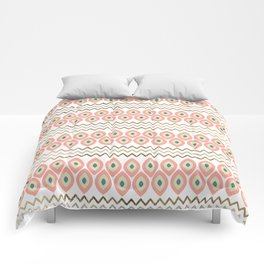 Coral faux gold leaves chevron geometrical pattern Comforters