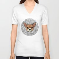chihuahua V-neck T-shirts featuring Chihuahua by lllg