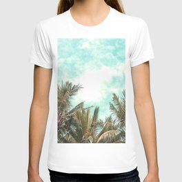 Wild and Free Vintage Palm Trees - Kaki and Turquoise T-shirt