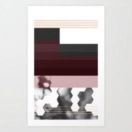 Striped Burgundy Deco Accent Art Print