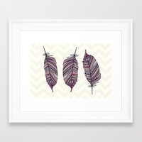 feather Framed Art Prints featuring FEATHER by Monika Strigel