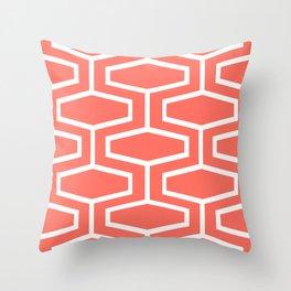 Coral Art Deco Geometric Pattern Throw Pillow