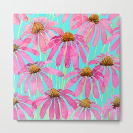 Pink Coneflowers On Turquoise - Watercolor Floral  Metal Print