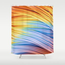 Pastels at Dawn, Abstract Strands. Shower Curtain