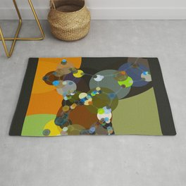 jasmine - bright abstract design of orange lime green grey and blue Rug