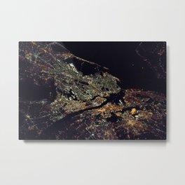 New York City - Manhattan, Brooklyn, New Jersey Satellite Night View Photograph Metal Print