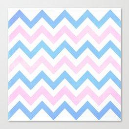 Blue pink Chevron Pattern Canvas Print