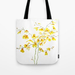 yellow Oncidium Orchid watercolor Tote Bag