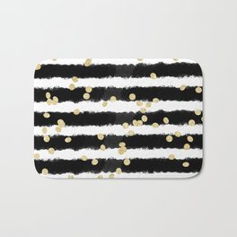 Modern black watercolor stripes chic gold confetti Bath Mat