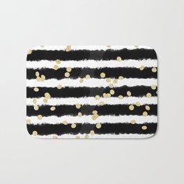 Modern black watercolor stripes chic gold confetti Bath Mat