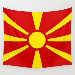Flag of Macedonia - authentic (High Quality image) Wall Tapestry