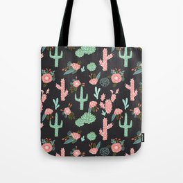 Cactus florals dark charcoal colorful trendy desert southwest house plants cacti succulents pattern Tote Bag